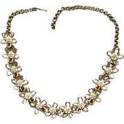 1950s Rhinestone Necklace Little Flowers Open Work Petals