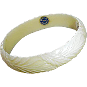 White on White Bangle Bracelet West Germany with Tag