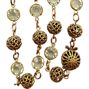 Very Vintage Necklace Bezel Set Lemon Crystals Fancy Brass Spacers