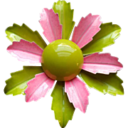 1960s Enamel Flower Brooch Bright Pink and Gorgeous Green