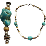 1960s Necklace Real Turquoise Nuggets Natural Color