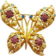Big Beautiful Butterfly Brooch For Spring Rhinestones Faux Pearls
