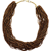 Gorgeous 30 Strand Fluid Torsade Necklace Root Beer Seed Beads