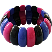 1980s Vintage Lucite Stretch Bracelet Domed Lozenges Black Pink Blue