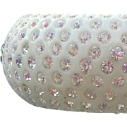 1960s Flashy Clamper Bracelet White Lucite Rhinestone Studded Sparkler