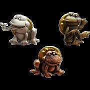 Set of Three Funny Frog Pins or Hat Tacks J.J. Jonette Jewelry