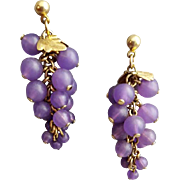 Fun Fluid Purple Bead Pierced Earrings Make a Bunch of Grapes