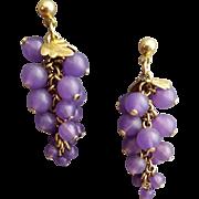 Fun Fluid Purple Bead Pierced Earrings Make a Bunch of Grapes