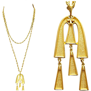 Egyptian Revival Sweater Necklace Crown Trifari Goldtone Elegance