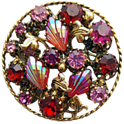1960s Rhinestone Brooch Fuchsia Red Pink Gold Tone Old World