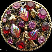 1960s Rhinestone Brooch Fuchsia Red Pink Gold Tone Old World