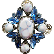 Large 1960s Art Glass and Rhinestone Brooch Beautiful Blues