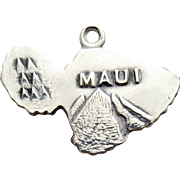 Hawaiian Sterling Silver Charm Island of Maui Hawaii for Bracelet 2.3 grams