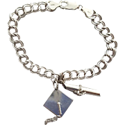 Sterling Silver Bracelet Two .925 Graduation Charms Diploma Hat
