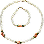 Vintage Torsade Necklace and Bracelet Carved Mother of Pearl Jade Angel Skin Coral Chips
