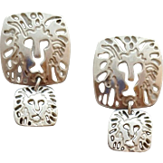 Sterling Silver Pierced Earrings Anne Klein Lions 7.5 Grams