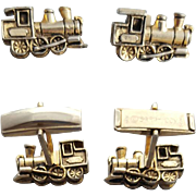 Vintage Steam Engine Train Cufflinks Goldtone by Sarah Coventry