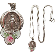 Sterling Miraculous Madonna Medal with Rose Guilloche Enamel Necklace 5.4 Grams