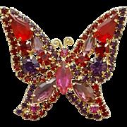 1960s Big Butterfly Brooch signed Kramer Red Purple Fuchsia Pink
