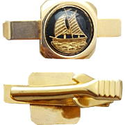 Men's Tie Clip 1960s Bar for Skinny Ties Sailing Ship Intaglio Carved Under Glass