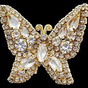 Huge Rhinestone Butterfly Fur Clip By Kramer 1960s