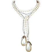 Faux Pearl and Aluminum Chain Lariat Necklace or Belt Coventry Book Piece