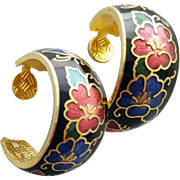 Vintage Cloisonne Pierced Earrings Colorful Butterflies on Black