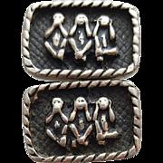 Vintage Cufflinks Monkeys Speak No Evil, See and Hear No Evil