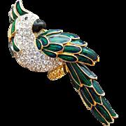 Rhinestone Parrot Brooch Designer 1990s Nolan Miller Swarovski Gold Plated