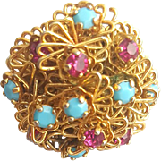 1970s Vintage Ring Ruby Red and Turquoise Rhinestones Adjustable