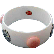 Vintage Wide White Bangle Bracelet Western Germany Pink Polka Dots Medallions With Tag