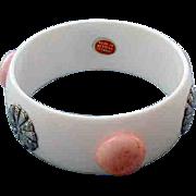 Vintage Wide White Bangle Bracelet Western Germany Pink Polka Dots Medallions With Tag