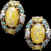 Schiaparelli Rhinestone and Art Glass Earrings Stunners