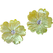 Mother of Pearl Flower clip Earrings with Rhinestones Summer Yellow