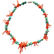 Vintage Necklace with Branch Coral and Turquoise Nugget Beads