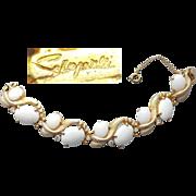 Vintage Elsa Schiaparelli Bracelet Rhinestones and Winter White Glass