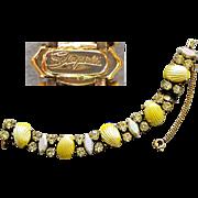 Stunning Schiaparelli Bracelet Rhinestones and Yellow Glass Sea Shells