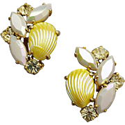 Wonderful Vintage Rhinestone Schiaparelli Earrings with Lemon Glass Shells