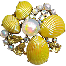 Spectacular Schiaparelli Rhinestone Brooch with Lemon Yellow Shells and Cabochons