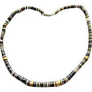 1960s - 1970s Heishi Shell Necklace Brass Spacers