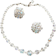 1950s Vintage Necklace with Earrings Cut Crystal Beads Aurora Borealis