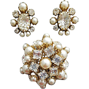 Spectacular Vintage Rhinestone and Faux Pearl Brooch with Earrings Huge Dome Schreiner