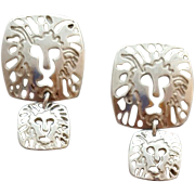 Anne Klein Earrings Sterling Silver Lions Pierced 7.5 Grams