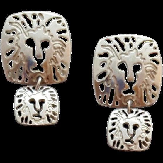 Anne Klein Earrings Sterling Silver Lions Pierced 7.5 Grams