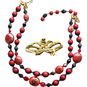 1960s Vintage Beaded Necklace Dramatic Red and Black Deauville