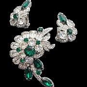 Eisenberg Ice Rhinestone Brooch with Earrings Emerald Green and Crystal Minty