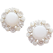 1950s Earrings White on White Lucite and Wedding Cake Plastic