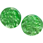 Luminous Lucite Earrings Clip on Color circa 1965 Mid Century Fab