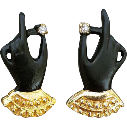 Whimsical Earrings Black Gloves with Rhinestones  Gold Tone Cuffs