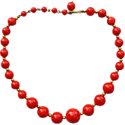 Brilliant Red Bakelite Bead Necklace Vintage Va Voom